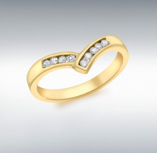 Channel Set Yellow Gold Diamond Wishbone Ring